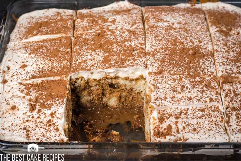 9x13 poke cake with piece missing