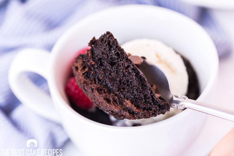 spoonful of fudgy chocolate mug cake