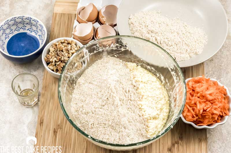 dry ingredients for carrot cake