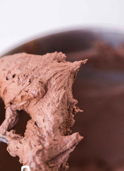 chocolate frosting on a stand mixer paddle