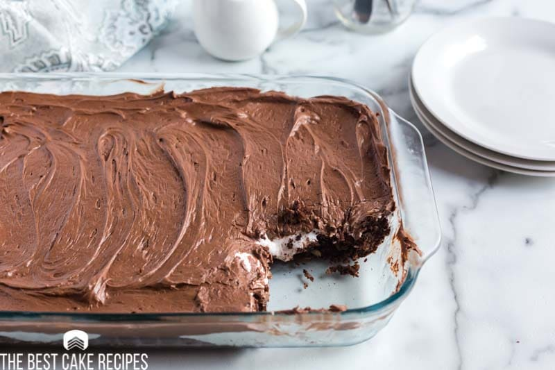 Mississippi Mud Cake with one slice out of it