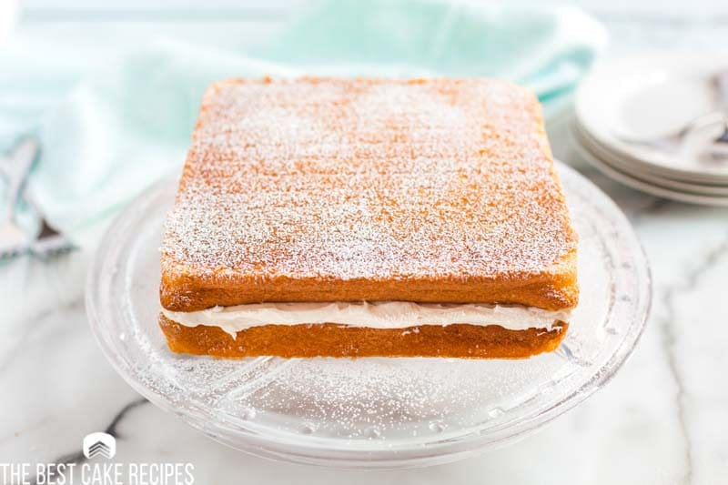 two layer twinkie cake with whipped cream filling