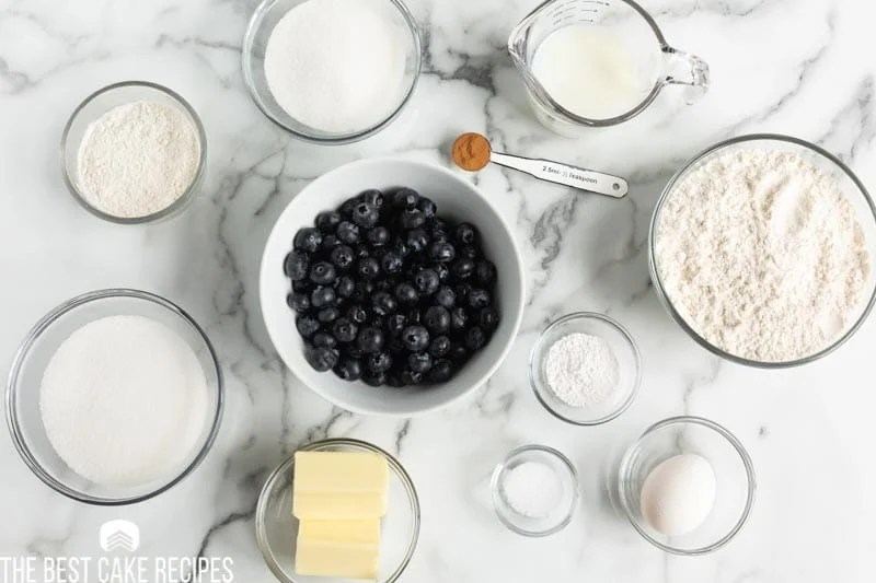 ingredients for blueberry buckle