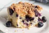 blueberry cake on a plate with a bite out