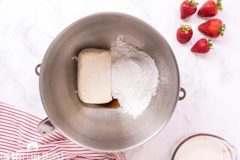 powdered sugar, cream cheese and vanilla in a mixing bowl