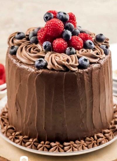 keto chocolate cake with fresh berries