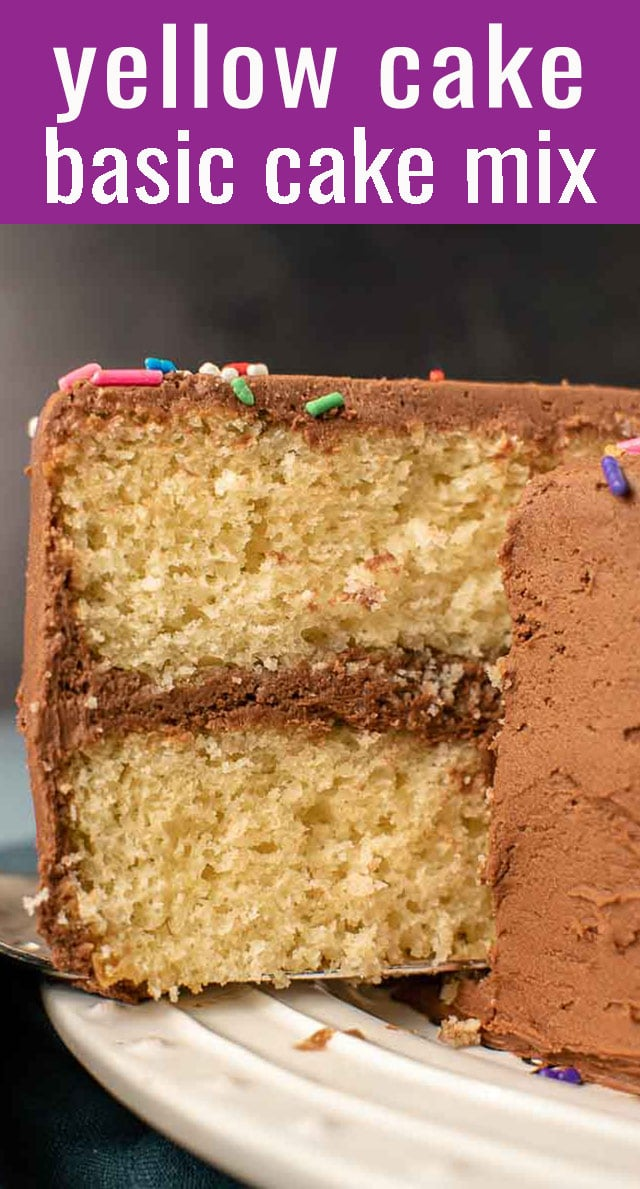 Use a homemade cake mix to whip up this classic recipe in a matter of minutes! This cake mix yellow cake is moist, light, and perfect for any occasion. via @thebestcakerecipes