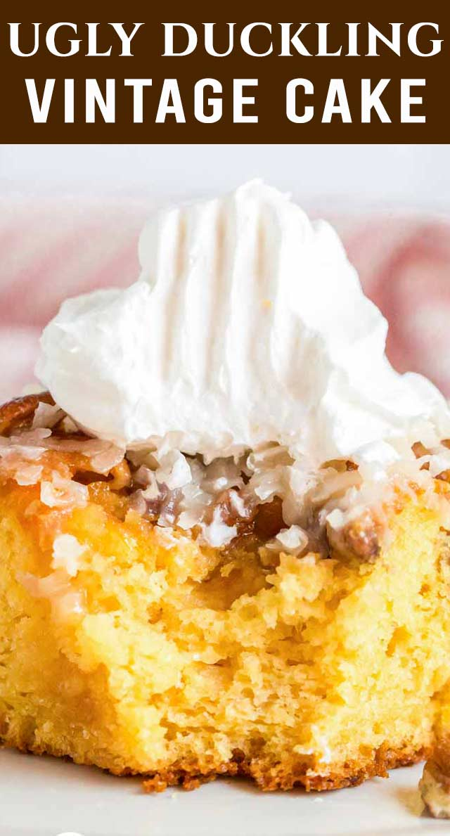 Use a box cake mix to make this vintage Ugly Duckling Cake recipe with fruit cocktail! With its moist texture, coconut and pecans, it'll be a favorite! via @thebestcakerecipes