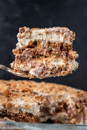 slice of chocolate chip cookie icebox cake on a spatula