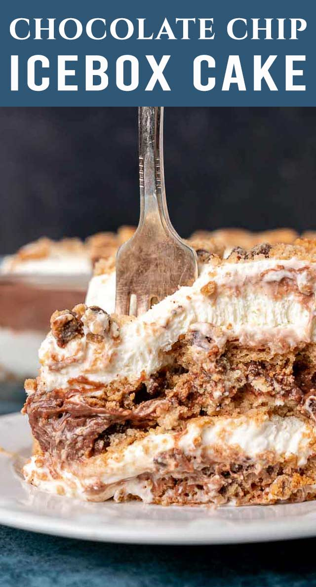 This layered chocolate chip icebox cake will be gone so fast! With layers of whipped cream cheese, pudding, and chocolate chip cookies, you'll be overwhelmed by the delicious flavor. via @thebestcakerecipes