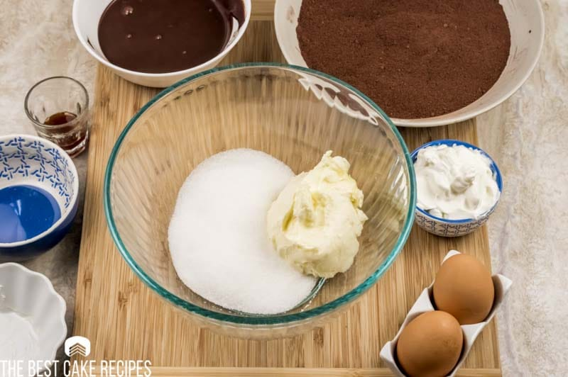 butter and sugar in mixing bowl