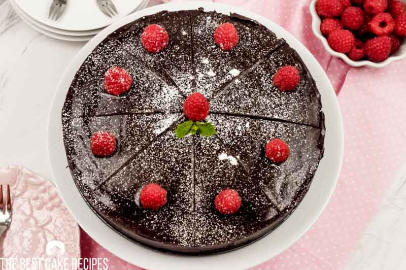 overhead view of keto chocolate fudge cake