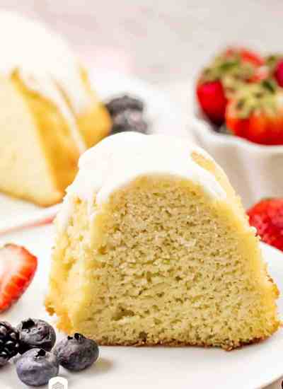 keto vanilla bundt cake on a plate