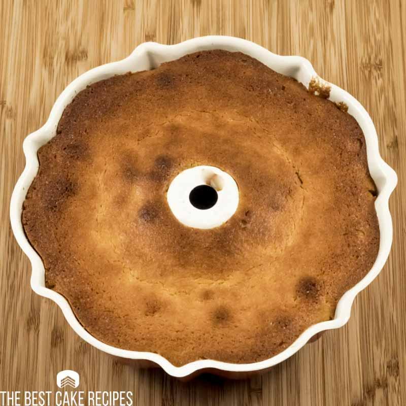 baked keto vanilla bundt cake in the pan