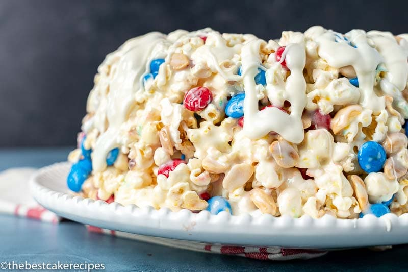 popcorn cake with patriotic m&ms