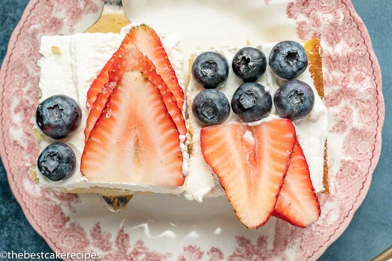 sheet cake with strawberries and blueberries