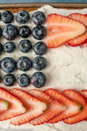 blueberries and strawberries in flag pattern on cake