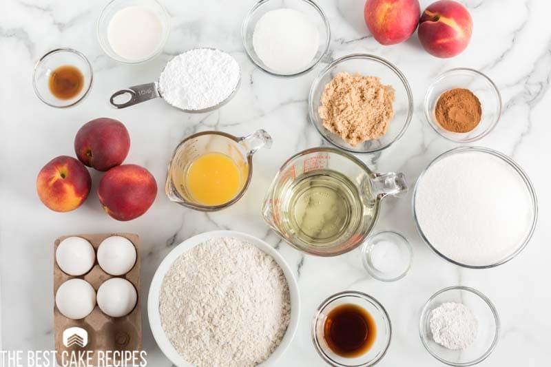 ingredients for peach swirl bundt cake