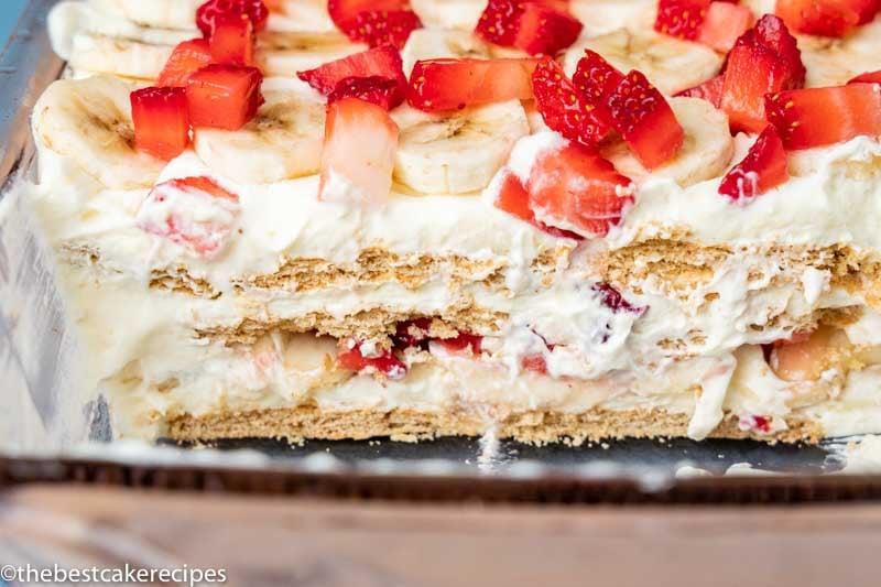 layers of strawberry banana icebox cake