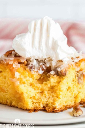 Ugly Duckling Cake with a dollop of whipped cream