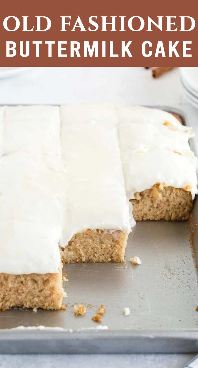 This large Texas Buttermilk Sheet Cake has simple, but classic flavor. With a hint of cinnamon, a slight buttermilk tang and vanilla frosting, this is a crowd pleaser. via @thebestcakerecipes