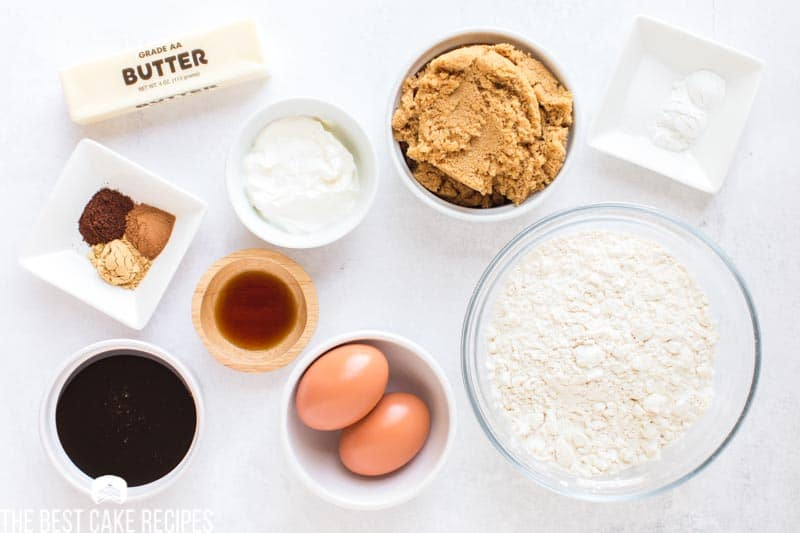 ingredients for gingerbread cake