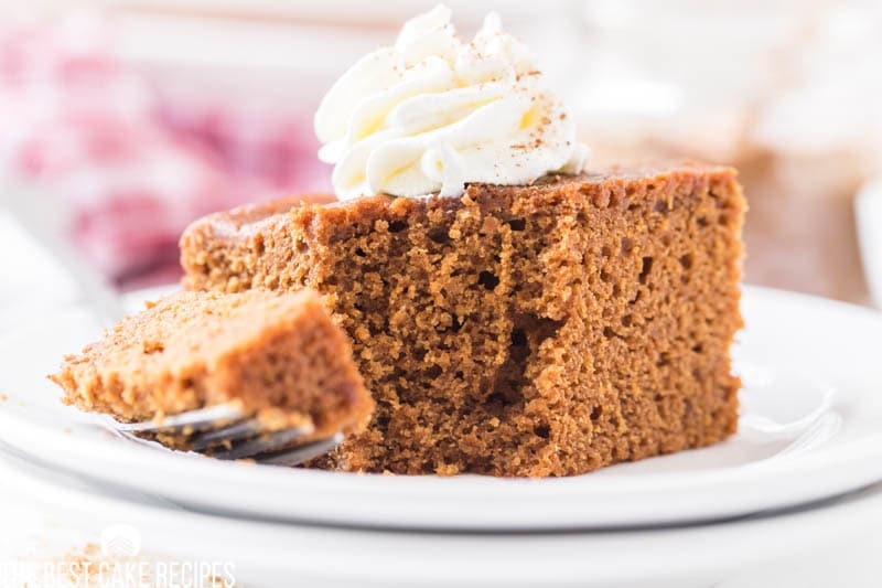 gingerbread cake with a bite on a fork