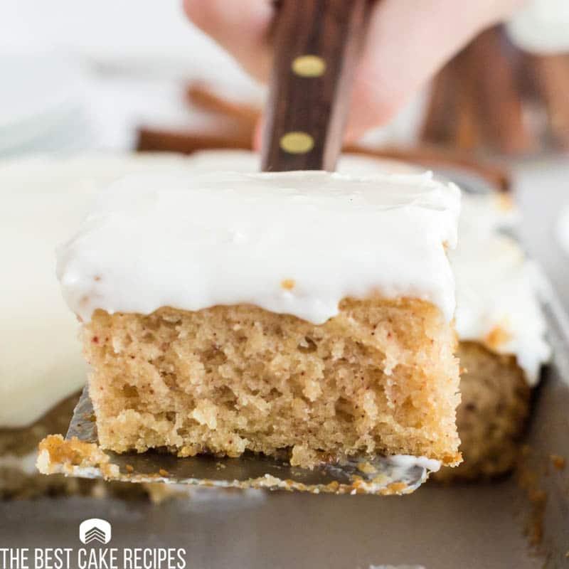 buttermilk cake on a spatula