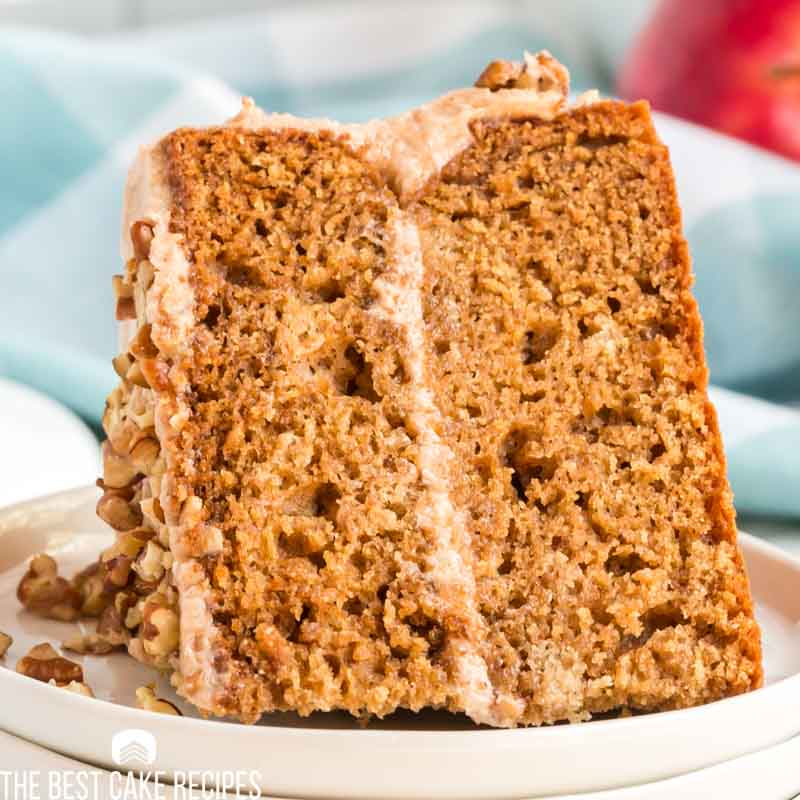slice of apple butter layer cake on a plate