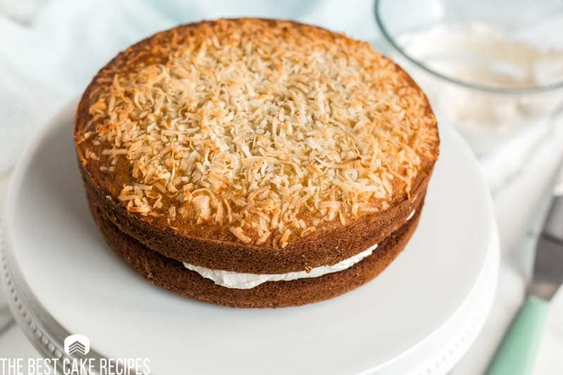 unfrosted banana coconut cake