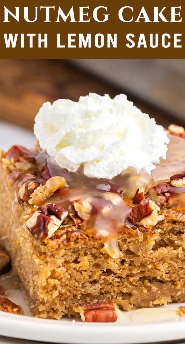 This Nutmeg Cake is a moist spice cake with brown sugar and sour cream. It has a fresh lemon sauce that drizzles on top. via @thebestcakerecipes