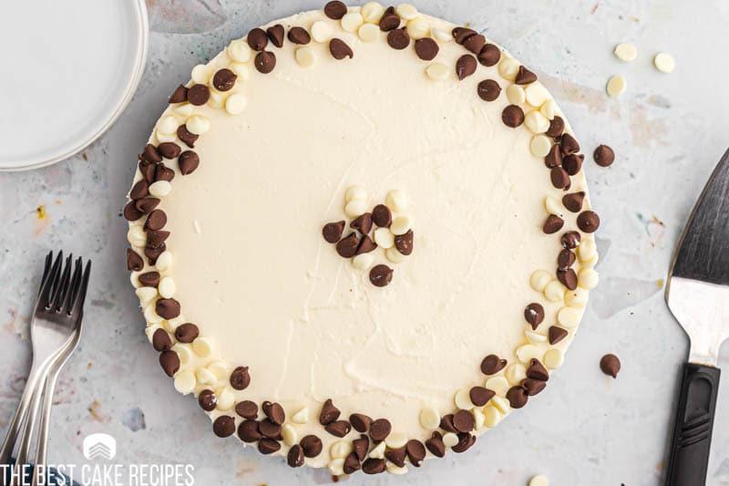 overhead view of white chocolate no bake cheesecake