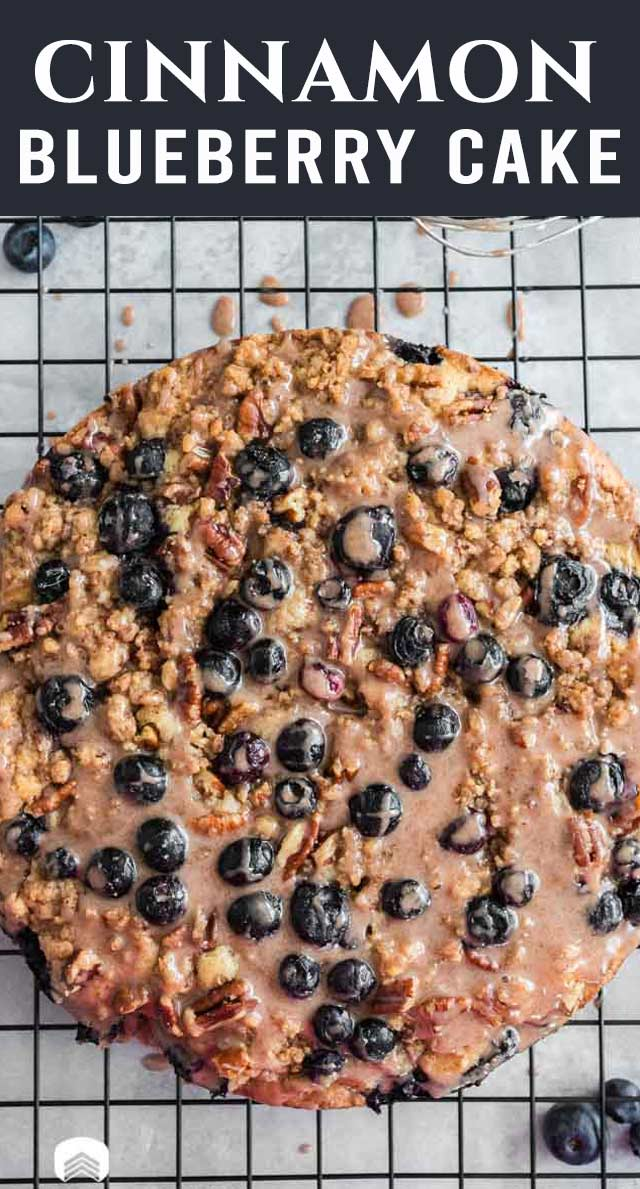 This cake is not only gorgeous, but delicious! Blueberry Coffee Cake with loads of pecan streusel and cinnamon glaze. The best way to start the day! via @thebestcakerecipes