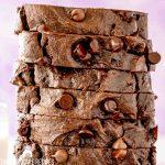 closeup of chocolate loaf cake