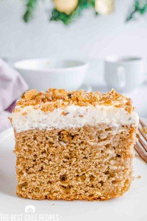 gingerbread eggnog poke cake on a plate