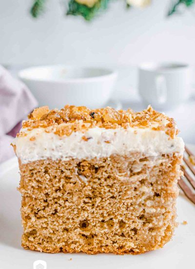 gingerbread eggnog poke cake on a plate