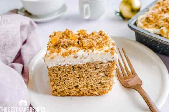 eggnog poke cake on a plate