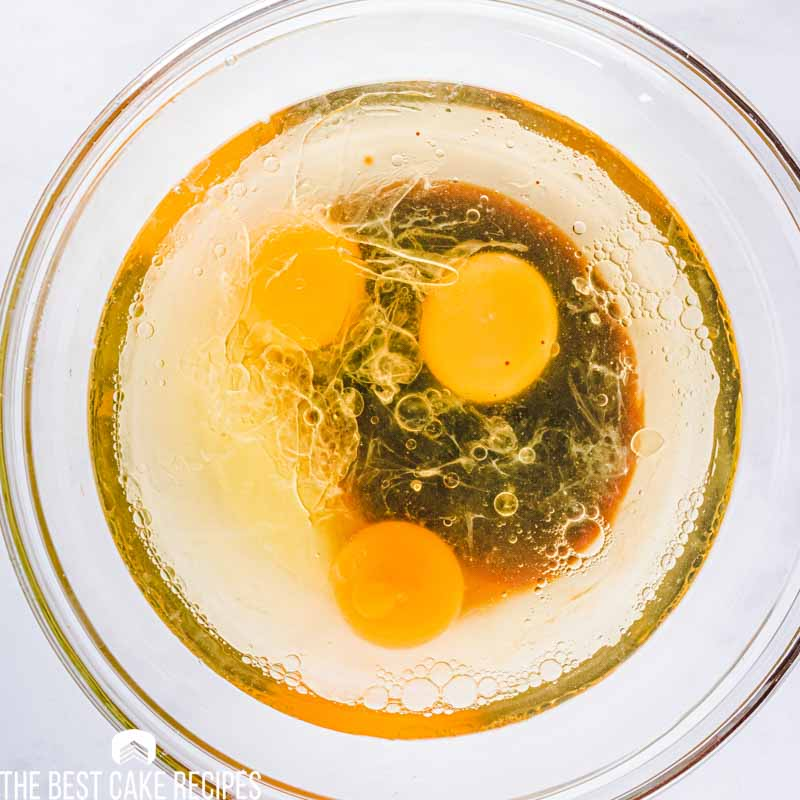 eggs and oil in mixing bowl