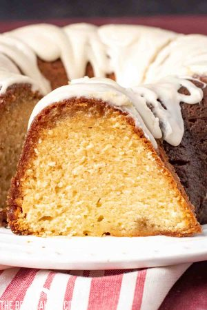 glazed rum cake on a plate