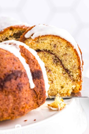 cinnamon swirl bundt cake on a spatula