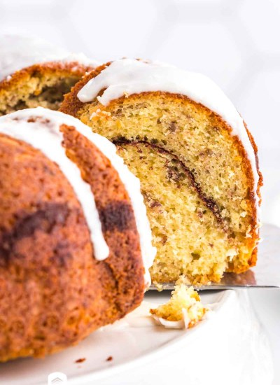 cinnamon swirl bundt cake on a spatula
