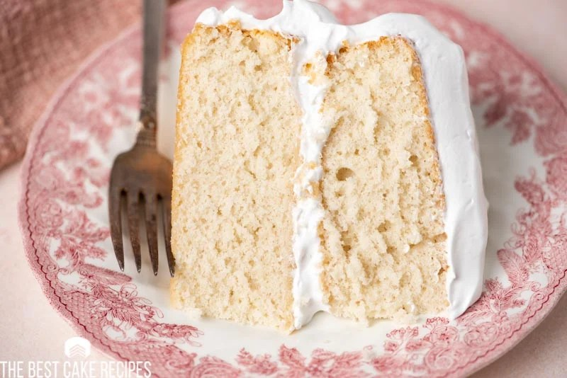 slice of cold water cake on a plate