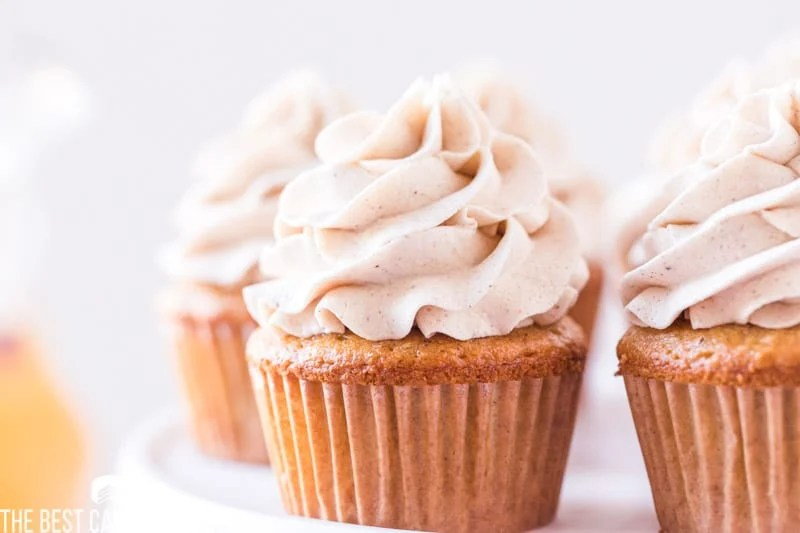 plate of apple cupcakes with swirled buttercream