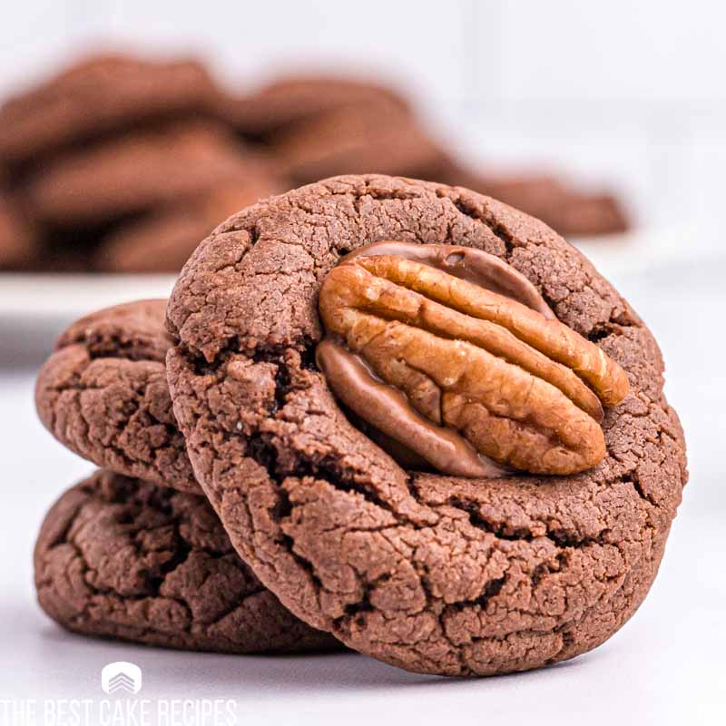 chocolate turtle cake mix cookies