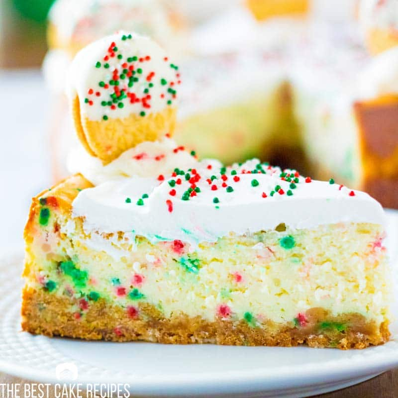 slice of christmas cheesecake on a plate