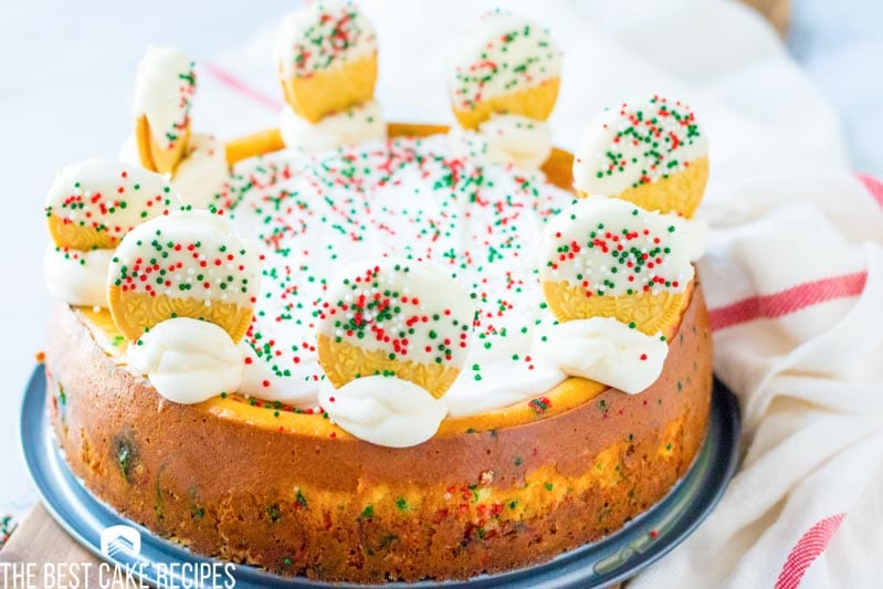 whole christmas cookie cheesecake with sprinkles