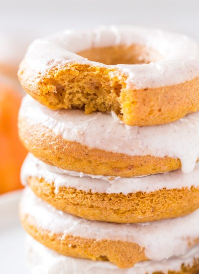 closeup of a stack of pumpkin donuts