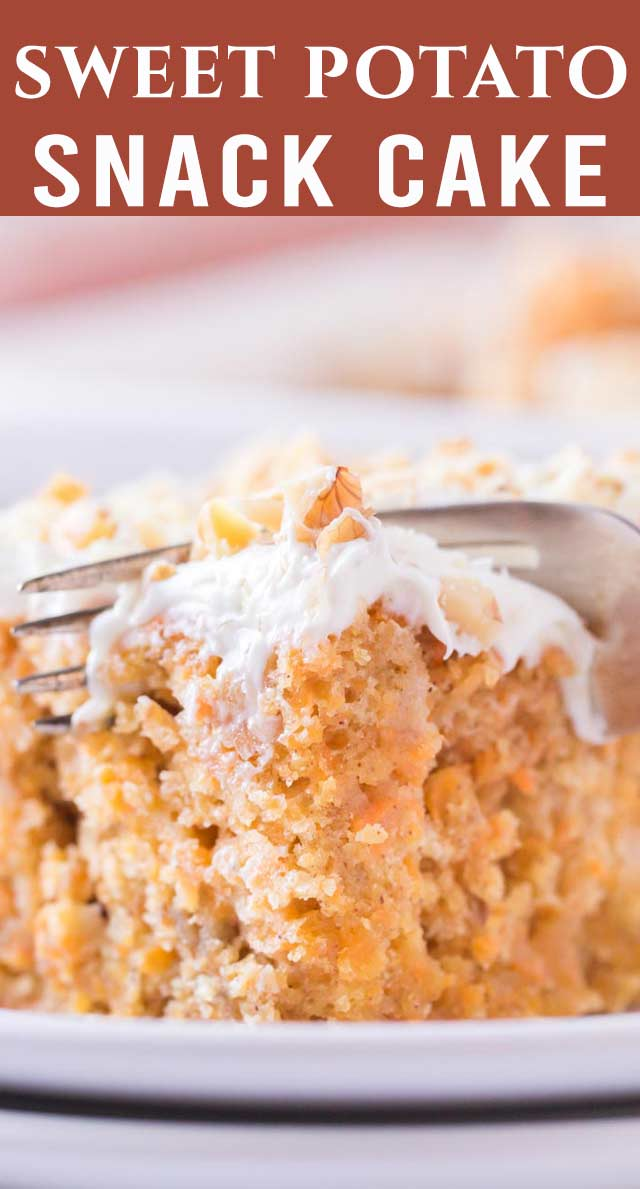 Enjoy making this super simple, delicious sweet potato snack cake--perfect for a quick dessert! Frost with cream cheese frosting and top with walnuts. via @thebestcakerecipes