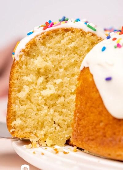 closeup of a piece of donut cake