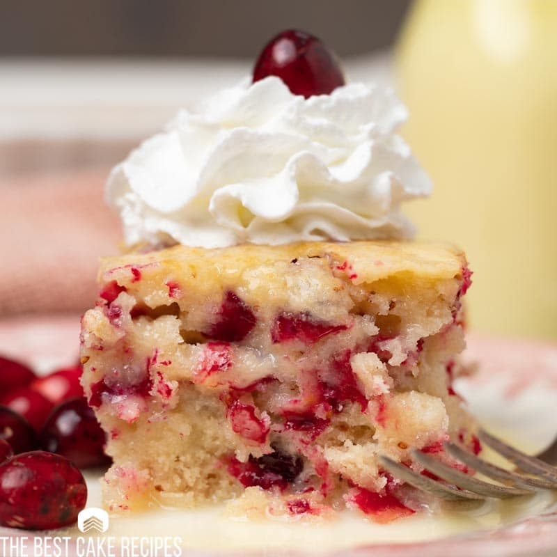 cranberry pudding cake with cool whip